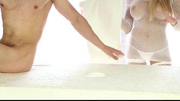 table apinese foot under son Home made handjob pantyjob purple panties