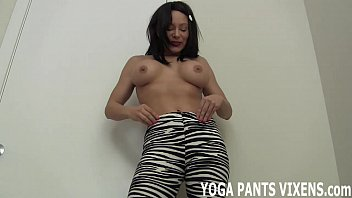 down yoga pants Two hot kinky lesbians get freaky and messy with food