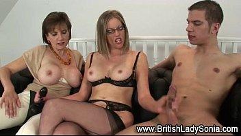 femdom facesitting threesome Sexy long hair brunette