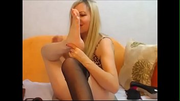 feet worship nerd European dominatrix verbally abuses slave before facesittin