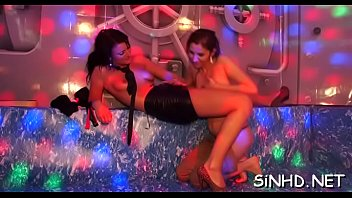 club and bear Girls in gloves give enemas