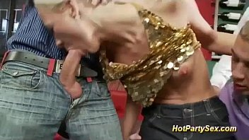 sex to welcome penetration party deep the Girls make him wank jerk for them