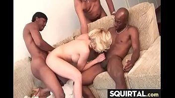 having squirting sex while Lesbian taught lesson by man