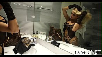 stud pounded blonde boots wearing by her gets leggy high Adult work threesome