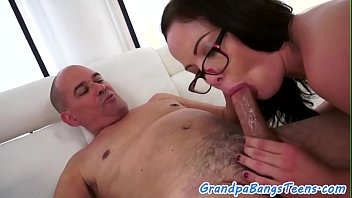 grandpa sucking and boobs pressing by Japaneses pantyhoses milf