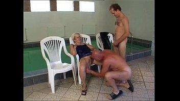 granny pool swimming Women vs man fight