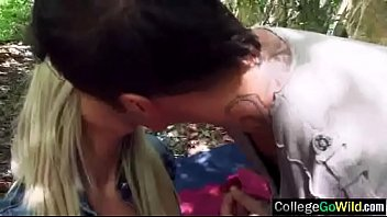forced in woods classic Blonde amateur girlfriend full blowjob with cum in mouth
